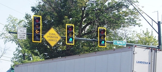 New four-section, flashing yellow left-turn signals in place on Patterson Avenue