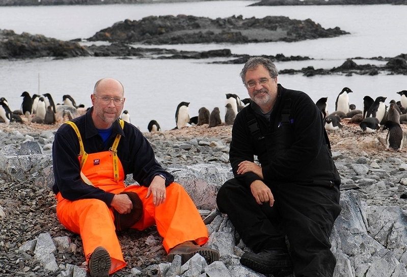Richard Lee, University Distinguished Professor of Biology (left) and David Denlinger, Distinguished Professor of Entomology at Ohio State University, in Antarctica