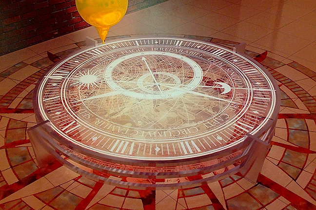 Artist David Grigg's rendering of the new version of the Foucault pendulum that will be installed in Kreger Hall. Thousands of students and alumni remember the Foucault pendulum in Culler Hall, the old home of the physics department (image courtesy the artist).