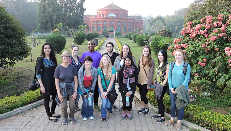Vaishali Raval and Miami students in Bangalore, India. Raval says culture matters in mental health.