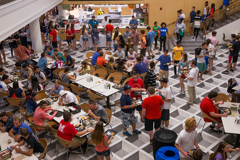 A birds eye view of students eating at the Armstrong Student Center