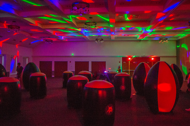 The Armstrong multi-puropose room set up for laser tag