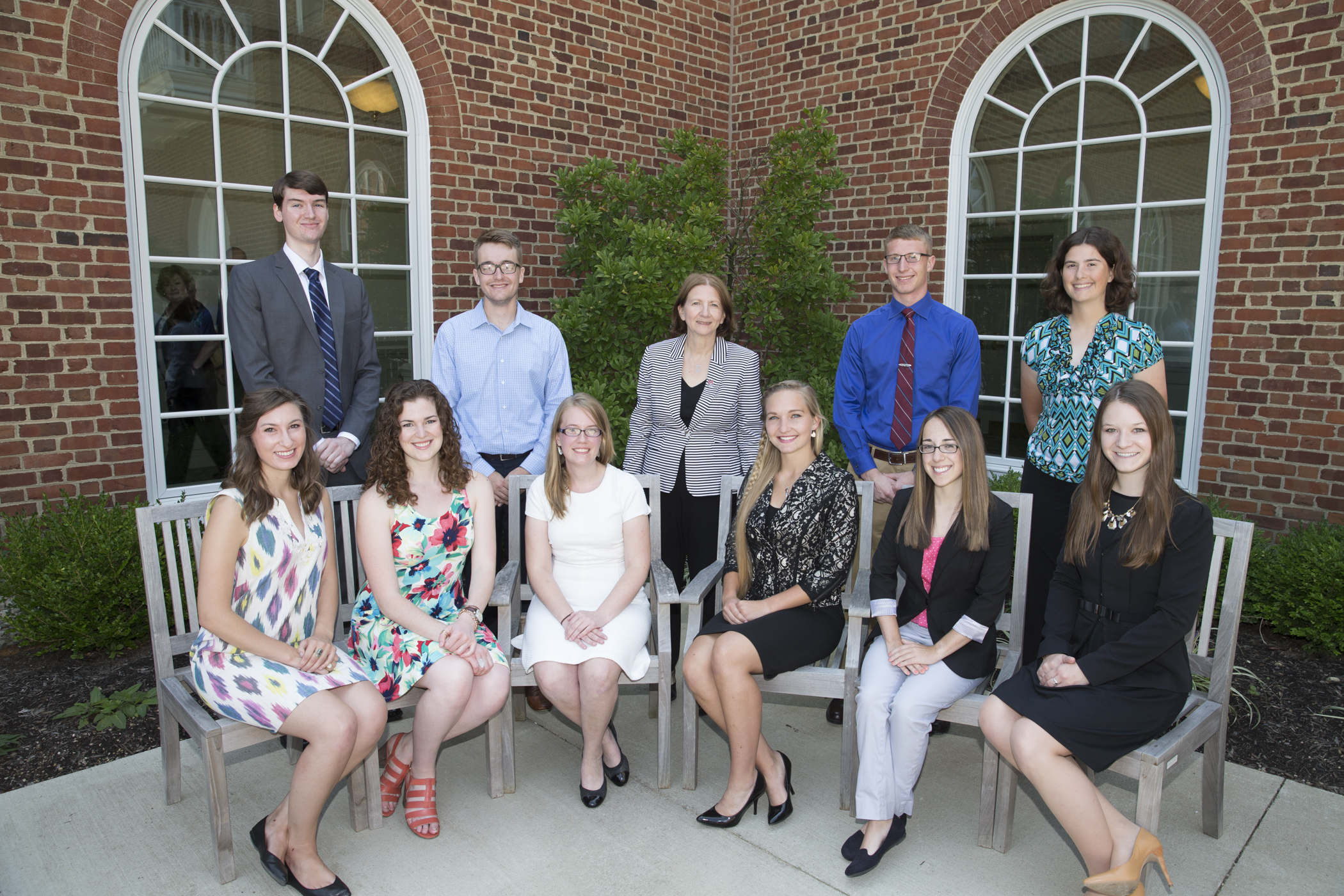 2015 Provost's Student Academic Achievement Award recipients. Top Row (L to R):  Bill Lowe, Eli Thompson, Provost Callahan, Robert Doughty, Sarah Loomis Bottom Row (L to R): Monica Komer, Jessie Motts, Becca Jorgensen, Elizabeth Dimbath, Nora Husani, Madison Weber