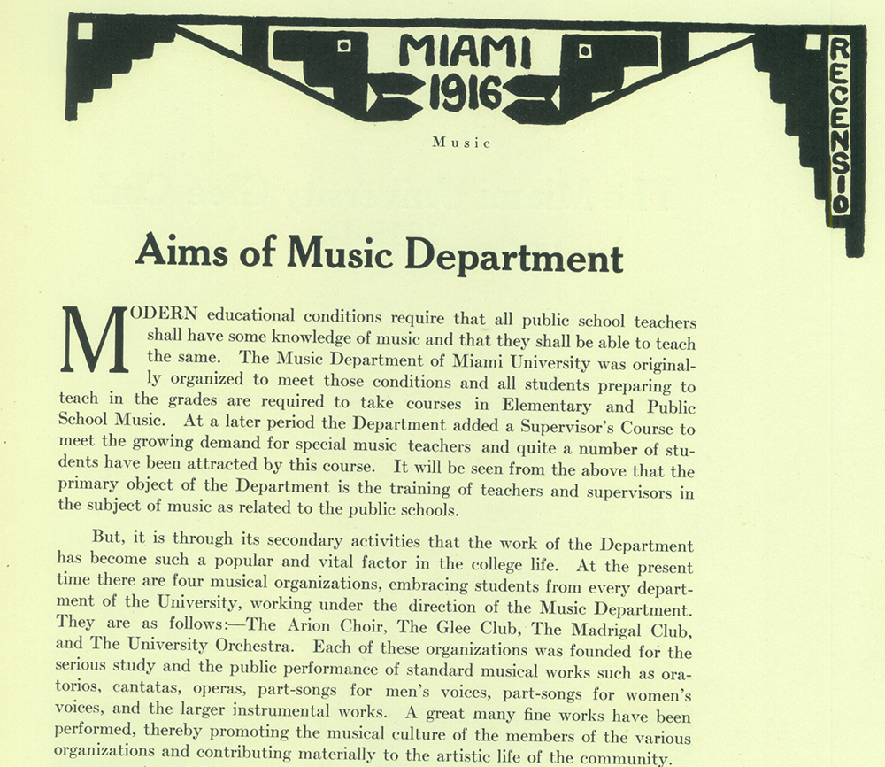 1915 yearbook article about music opportunities