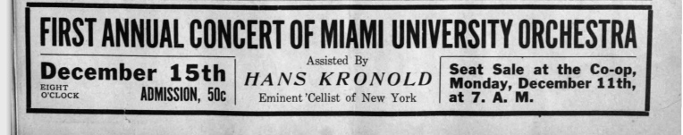 1915 ad for Miami U. Symphony