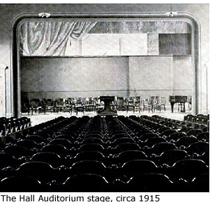 1915 photo of Hall Auditorium stage