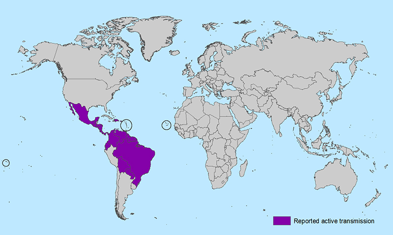 Map shows where the Zeke virus threat is most prominent. (Source: Center for Disease Control)
