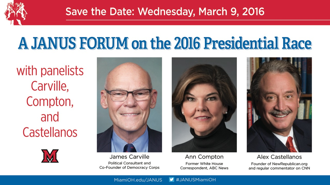 James Carville, Alex Castellanos and Ann Compton to speak
