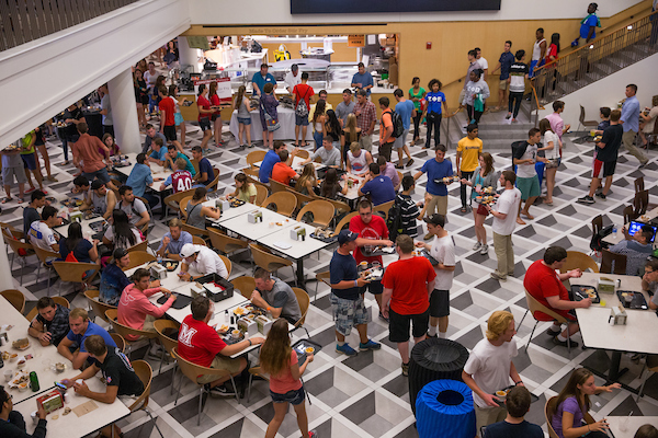 First-year students at the food court