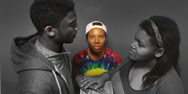 A tableau of 3 actors from Blu. The actor in the center wears a backward baseball cap and a tie-dyed shirt; this full-color image stands out against the rest of the grayscale scene.