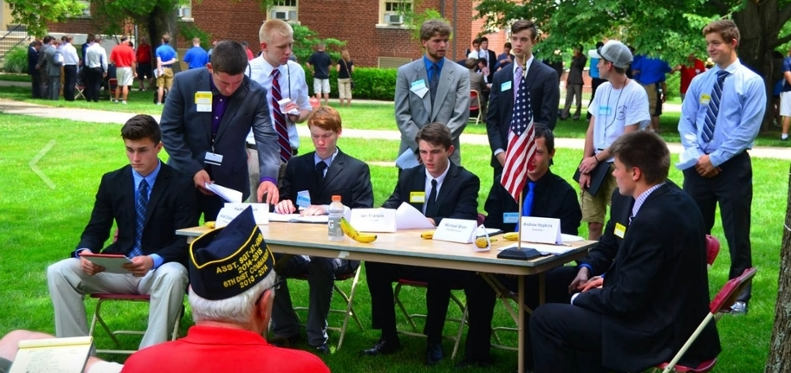 American Legion Buckeye Boys State City Council meetings, outside Roudebush Hall (all photos courtesy ALBBS Facebook page)