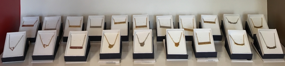 A line of jewelry designed by students from the Miami University Fashion and Design club is available for sale at the Miami University bookstore in the Armstrong Student Center (photo by Gabby Voelkl).