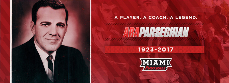 In memory of Ara Parseghian, Miami alumnus and former football coach.