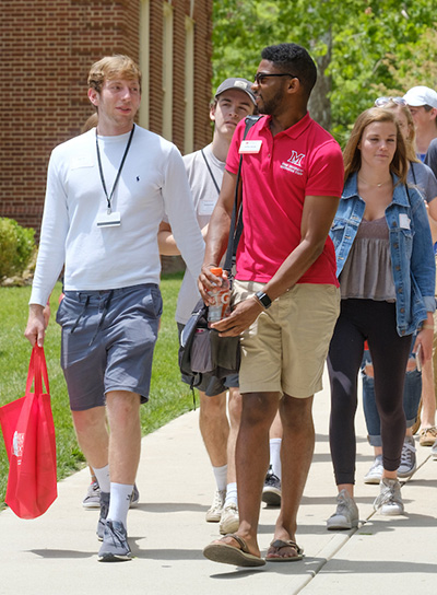 Students take a tour of campus