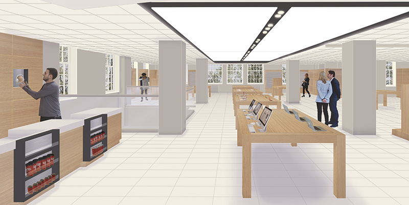 An architecture view of the first floor of the bookstore in Shriver after renovation.