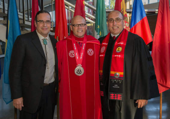 Myaamia Center Director Daryl Baldwin stands with Miami University President Greg Crawford and Miami Tribe Chief Doug Lankford at Crawford's 2016 inauguration.