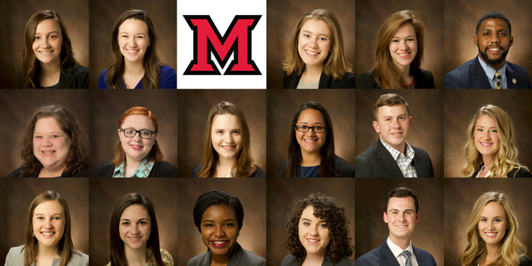 Seventeen students will receive the President's Distinguished Service Award on April 15. Pictured above are this year's recipients, appearing alphabetically left-to-right as identified below in a bulleted list.