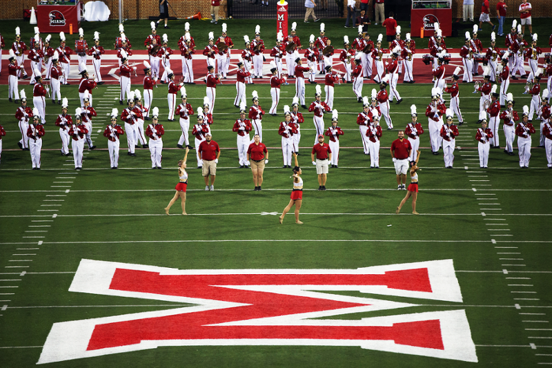 Marching band formation at Yager Field