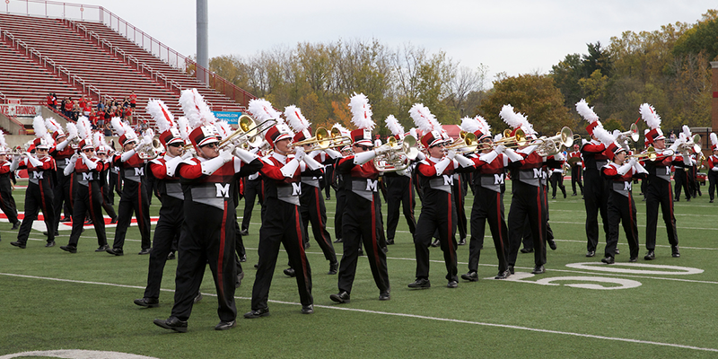 Miami University Marching Band performing at Yager Stadium