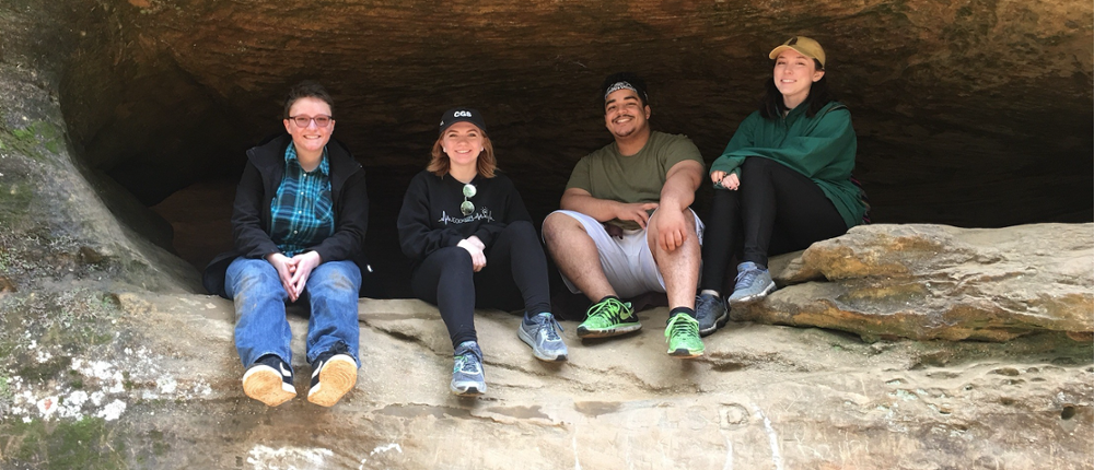 Members of Miami University's astronomy club during a trip to Hocking Hills. From left to right: Orion Koleva, Maddie DePaoli, Anthony Scott and Katrina Kessler.