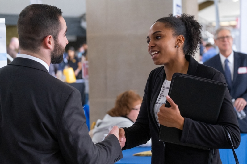 A Miami student connects with recruiters at the 2019 Spring Career Fair.