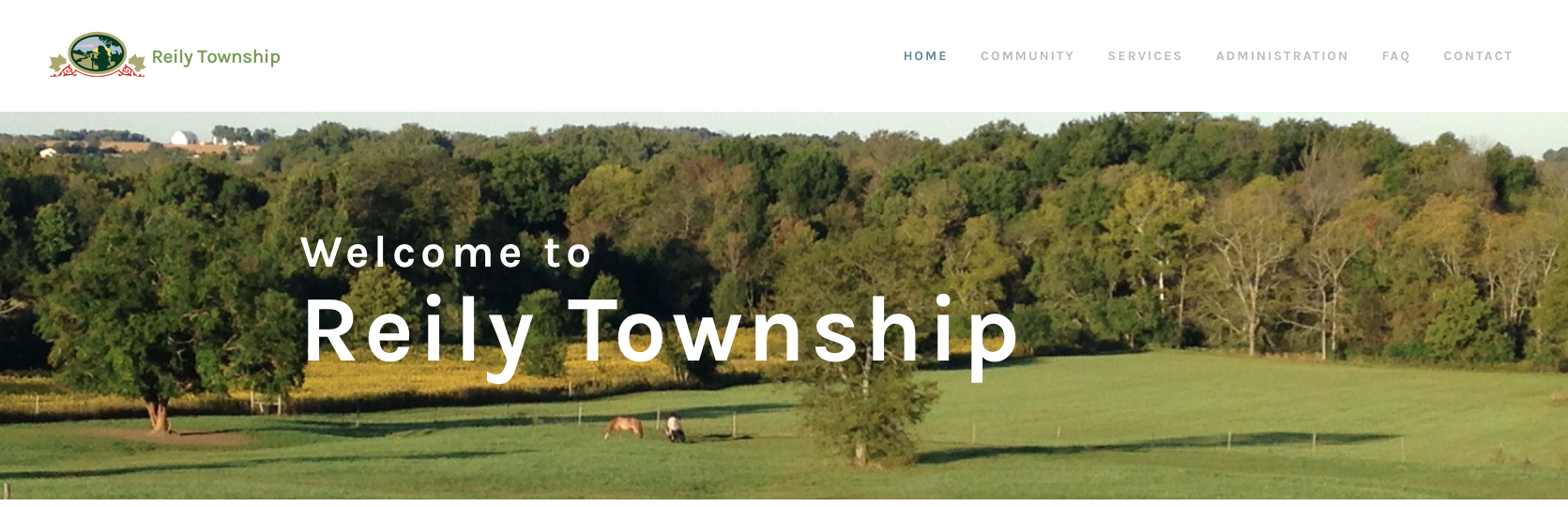The Reily Township website homepage.