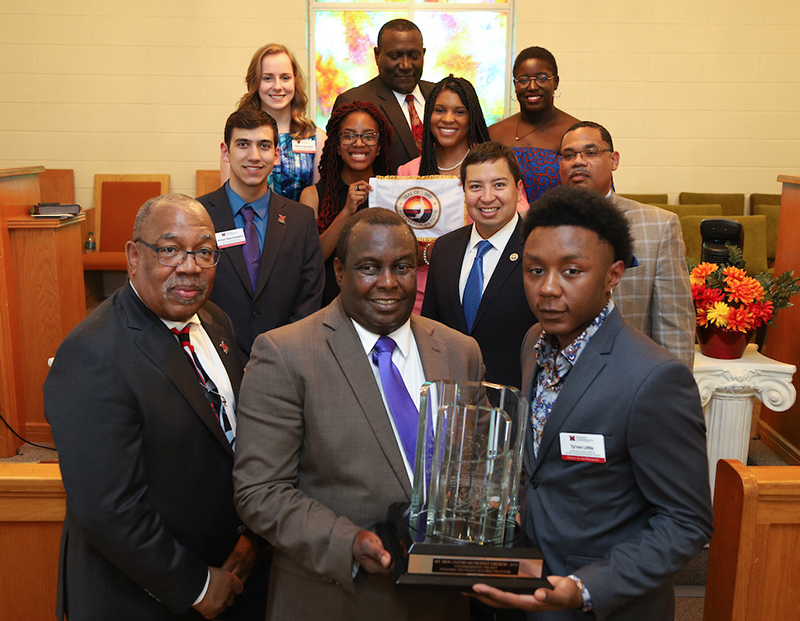 Members of Mt. Zion church posing with their award