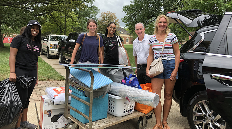 Student athletes, Greek life students and staff helped families move first-year students into residence halls.
