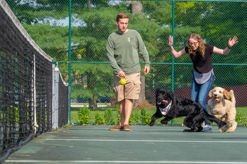 Nathan Phillips and Alexandria Tong play at the Wilson tennis courts with Bonzo and Buffett, service dogs in training.