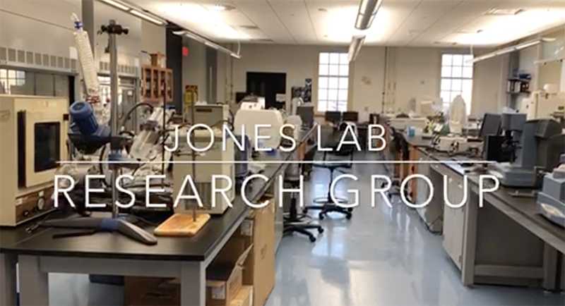 A laboratory scene overlaid with text Jones Lab Research Group