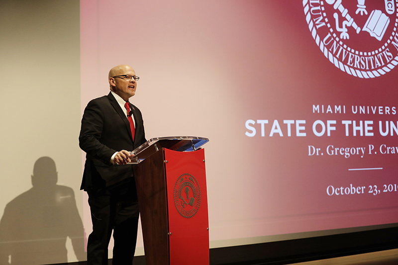 President Greg Crawford highlighted Miami's accomplishments of the past year and outlined the goals of MiamiRISE.