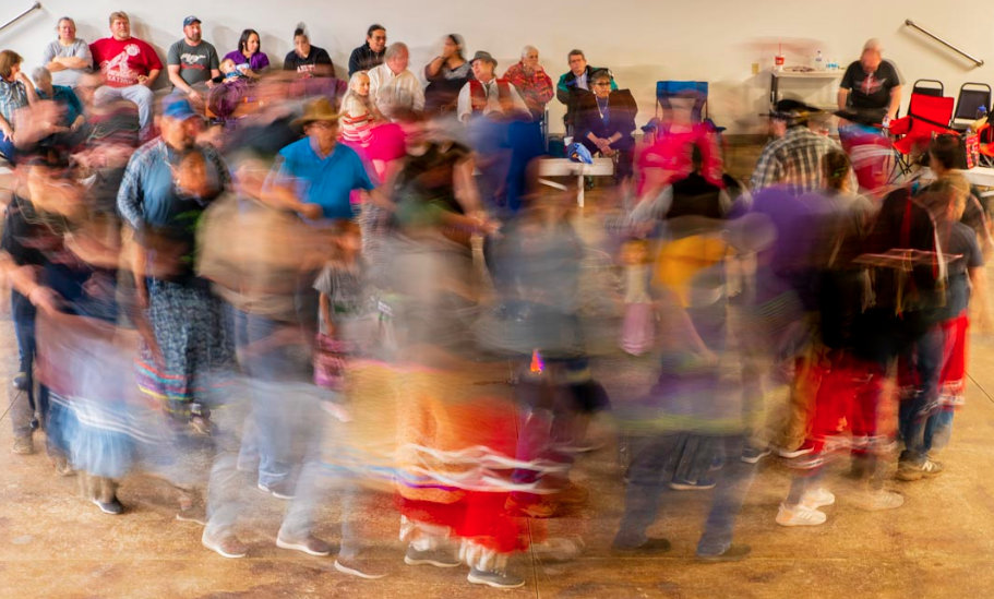Myaamia Center staff traveled to Miami, Oklahoma, recently to take part in the Miami Tribe of Oklahoma's Winter Gathering activities. Here tribal citizens participate in the stomp dance.