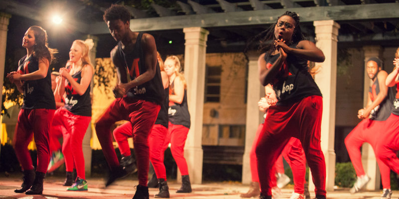 Hip hop dancers perform in uptown Oxford