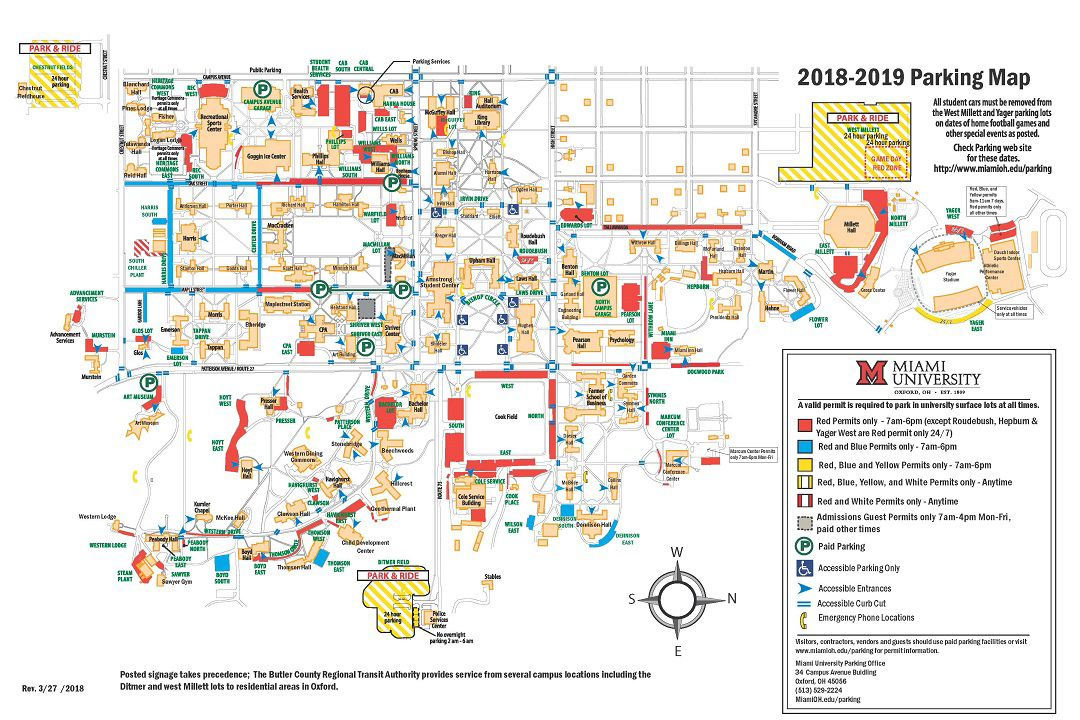 Parking and Transportation Miami University – Miami Tourist Map