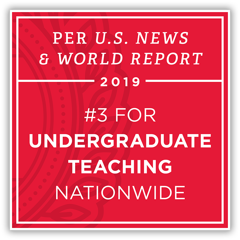 Per US News & World Report 2019 - #3 university for undergraduate teaching nationwide