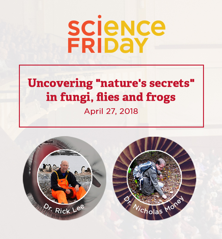 Science Friday. Uncovering natures's secrets in fungi, flies and frogs. Friday, April 27. Dr Rick Lee and Dr Nicholas Money