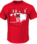 Red t-shirt with a graphic of the state of Ohio that says Miami in red