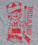 close up of a gray shirt that has a red graphic on it of a cartoonish hockey player and the word Miami