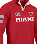 close up of a red rugby shirt that says Miami on it
