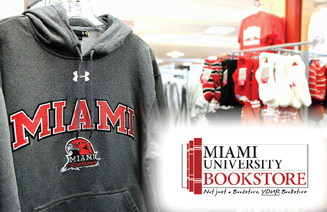 Miami University Bookstore showing a gray Miami sweatshirt