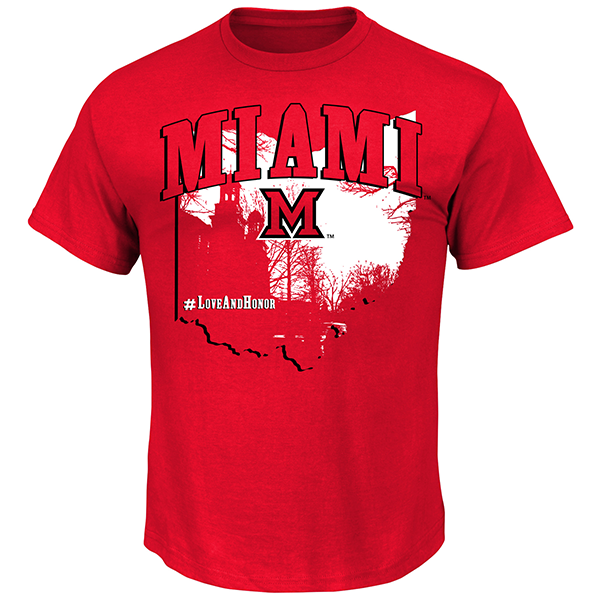 Red shirt with Miami written in red over top a graphic of the state of Ohio