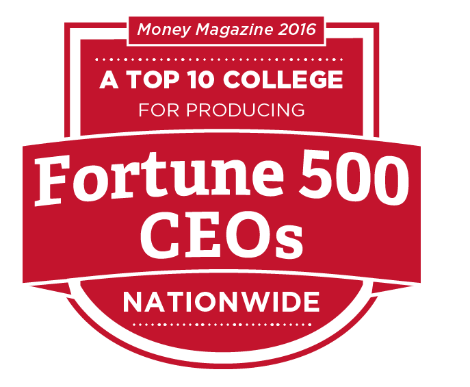 A top 10 college for producing Fortune 500 CEOs nationwide. Money Magazine 2016