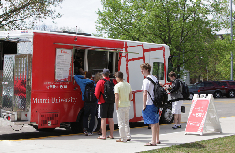 Have food, will travel. Grab a quick bite to eat from the MU strEATS mobile dining truck.