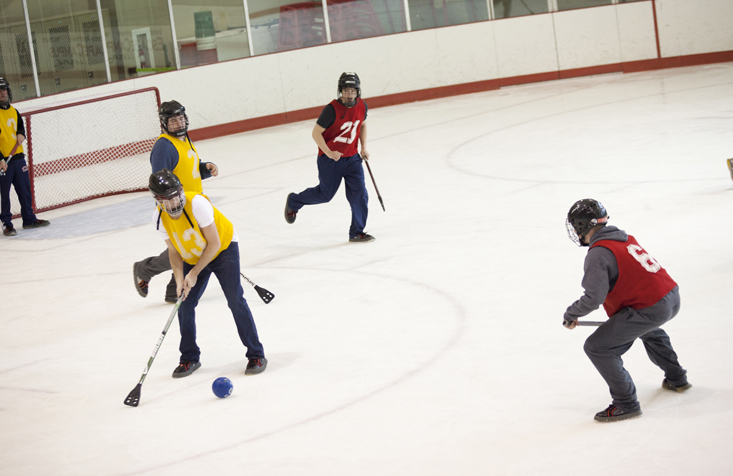 Broomball is one of our most popular Club Sports. It's played on the ice, with a broom-like stick and regular shoes. Trust us, it's just as quirky and fun as it sounds.