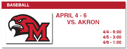baseball, april 4-6 vs. akron, 4/4 - 6:00, 4/5 - 3:00, 4/6 - 1:00