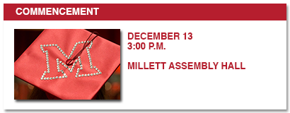 commencement, saturday, december 13, 3:00 p.m., Millett Assembly Hall