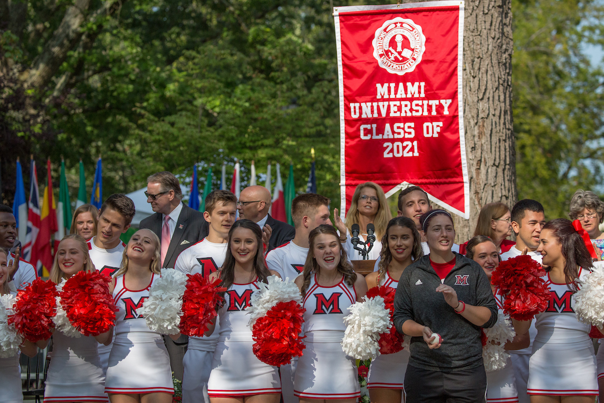 Miami cheerleading squad welcomes students to the new year