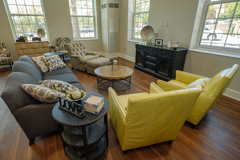 Interior view of a cozy living room with modern furniture in the newly renovated Hamilton Hall
