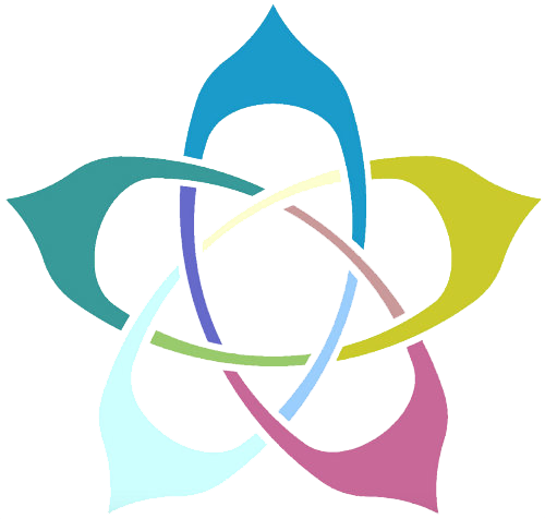 Colorful five-pointed logo to represent mindfulness
