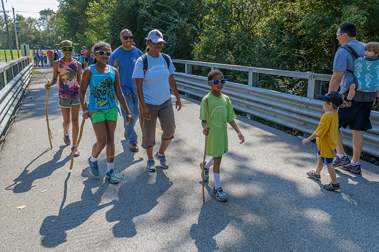 Miami community members participating in a Hike-A-Thon